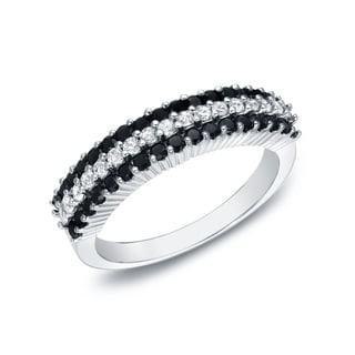 Auriya 14k White Gold 3/4ct TDW 3-row Pave-set Black and White Diamond Ring (G-H, I1-I2)