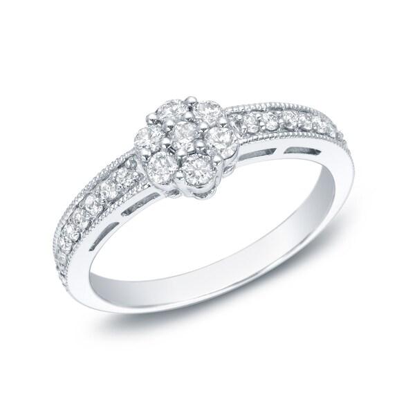 Auriya 14k White Gold 1/2ct TDW Diamond Cluster Promise Ring (G-H, I1-I2)