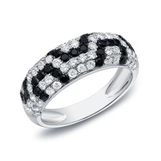 Auriya 14k White Gold 1 1/2ct TDW Black and White Pave-set Diamond Ring (G-H, I1-I2)