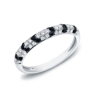 Auriya 14k White Gold 1/4ct TDW Black and White Pave-set Stackable Diamond Ring (G-H, I1-I2)