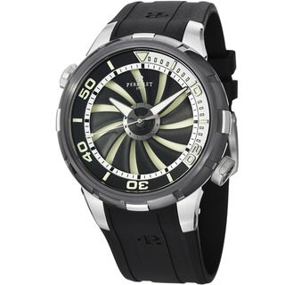 Perrelet Men's A1067/1 'Turbine Diver' Black/White Dial Black Strap Watch