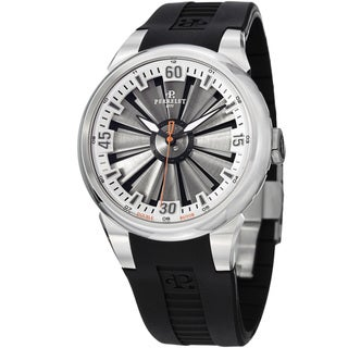 Perrelet Men's 'Turbine' Silver Dial Black Rubber Strap Watch