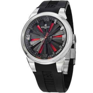Perrelet Men's 'Turbine' Black/Red Black Rubber Strap Automatic Watch