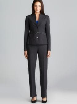 Calvin Klein Two Button Buckle Belt Pant Suit