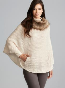 Steve Madden Faux Fur Collar Knit Poncho
