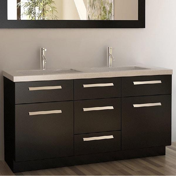 Design Element Moscony Espresso 60 Inch Double Sink Vanity