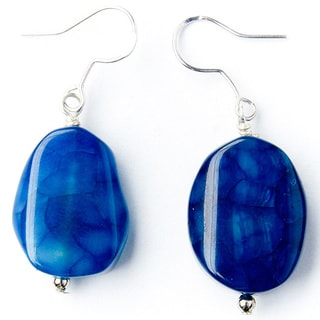 Shiny Blue Agate Earrings on Sterling Silver Hooks (China)
