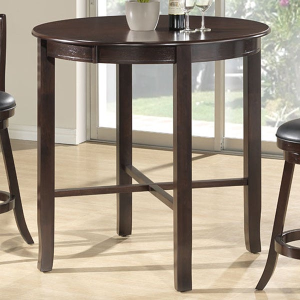 Cappuccino ash veneer 42 inch diameter bar height dining table 15626466 - Inch diameter dining table ...