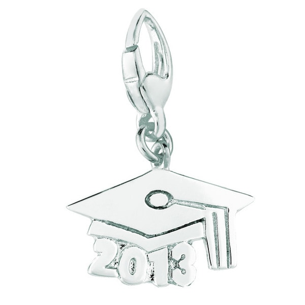 Sterling Silver 2013 Graduation Cap Clip-on Charm