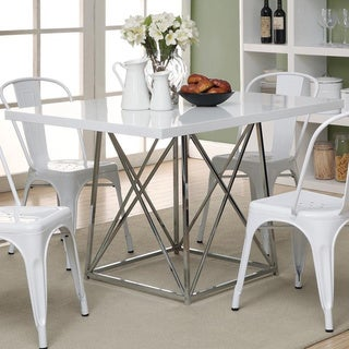 White Glossy Chrome Metal 48-inch Dining Table