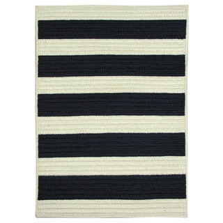 Nautical Stripe Navy Reversible Braided Rug (8' x 11')