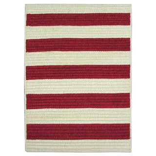Nautical Stripe 8 ft x 11 ft Reversible Braided Rug, Red