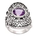 Silvermoon Sterling Silver Amethyst Filigree Ring