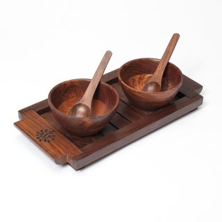 Handcrafted Mango Wood and Ceramic Serving Bowls Set with Bonus Coffee/ Tea/ Sugar Storage (India)