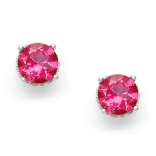 Silvermoon Sterling Silver Pink Topaz Stud Earrings