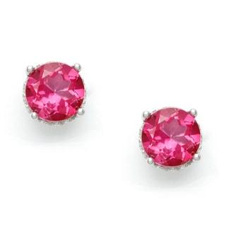 Silvermoon Sterling Silver Pink Topaz Stud Earrings