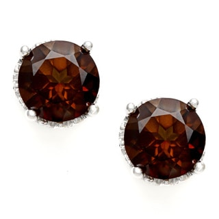 Silvermoon Sterling Silver Coffee Topaz Stud Earrings