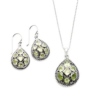 Silvermoon Sterling Silver Peridot 2-pair Earring Set