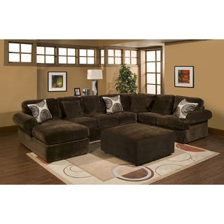 Furniture of America Amberly Transitional Champion Fabric Chocolate Upholstery 3-piece Set