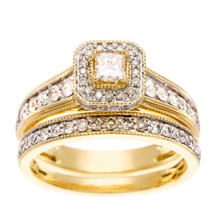14k Yellow Gold 1ct TDW Certified Diamond Bridal Ring Set (H-I, I1-I2)
