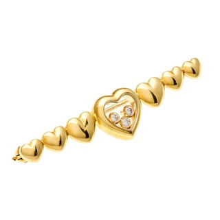 Pre-owned Chopard 18k Gold 1/5ct TDW Diamond Heart Estate Bar Pin (F-G, VS1-VS2)