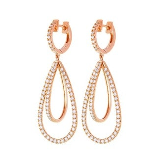 Beverly Hills Charm 14k Rose Gold 1 3/4ct TDW Diamond Dangling Earrings (H-I, SI2-I1)