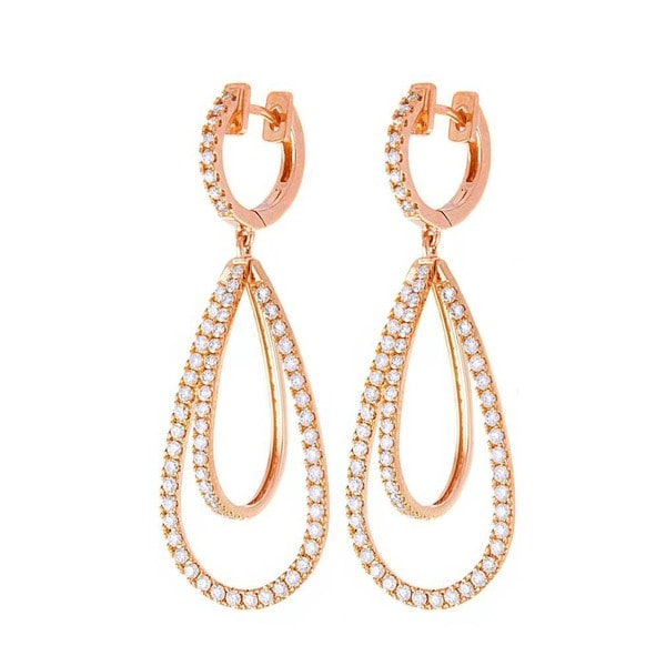 Beverly Hills Charm 14k Rose Gold 1 3/4ct TDW Diamond Dangling Earrings (H-I, SI2-I1)