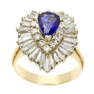 Pre-owned 14k Yellow Gold Sapphire and 3ct TDW Diamond Estate Ring (I-J, VS1-VS2)