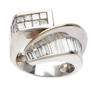 18k White Gold 2ct TDW Diamond Swirl Estate Ring (H-I, VS1-VS2)