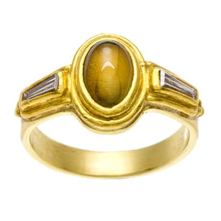 18k Gold Chrysoberyl and 1/4ct TDW Diamond Estate Ring (I-J, SI1-SI2)