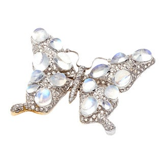 Silver Moonstone and 4ct TDW Diamond Butterfly Estate Brooch (K-L, SI3)