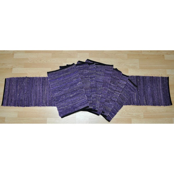 Matador Purple Leather/ Cotton Table Runner and Place Mats Set