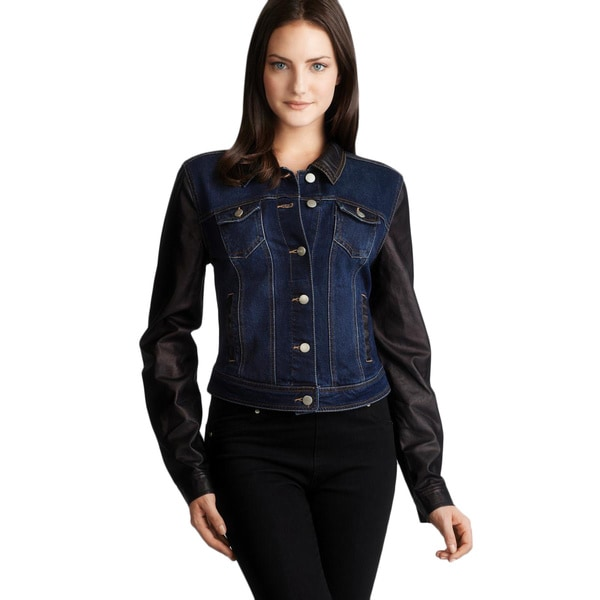 Walter Faux Leather Sleeves & Collar Denim Jacket