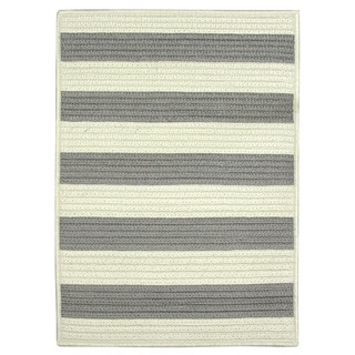 Nautical Stripe Grey Braided Rug (8'x11')