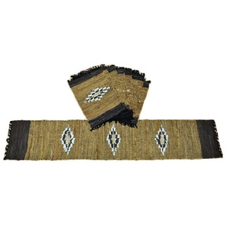 Matador Diamond Leather/ Cotton Table Runner and Place Mats Set