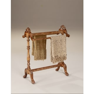 Hand-carved Vintage Oak Finished Blanket/ Quilt Stand
