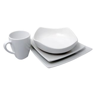 Melamine White Square 4-piece Dinnerware Set