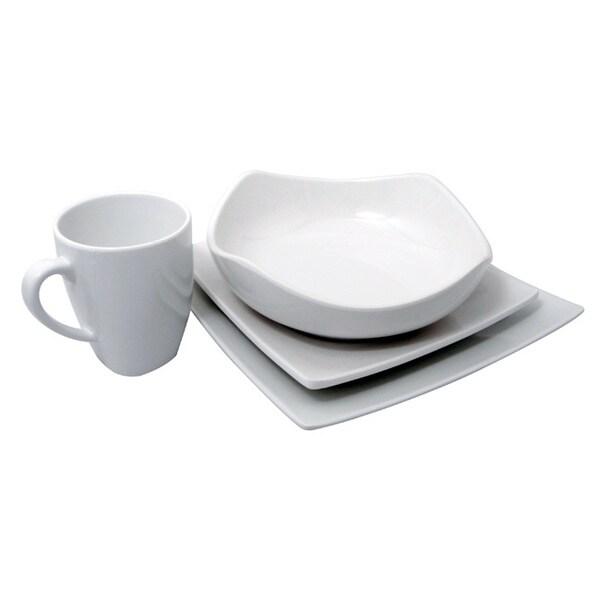Melamine White Square 4-piece Dinnerware Set