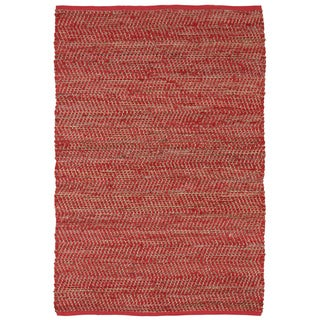 Hand-woven Red Jeans Denim/ Hemp Rug (8' x 10')