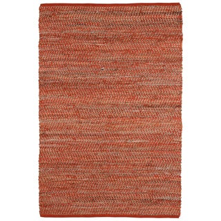 Hand-woven Orange Jeans Denim/ Hemp Rug (8' x 10')