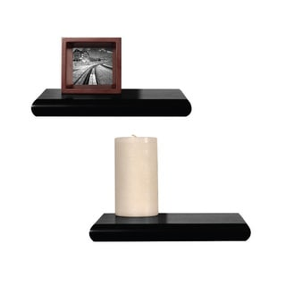 Black Floating Wall Mount Shelves (Set of 2)
