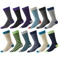 Footjoy Mens Prodry Limited Edition Fashion Stripe Crew Socks (12 pairs)