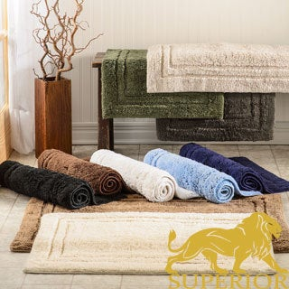Superior Collection Cotton Non-skid Bath Rugs (Set of 2)