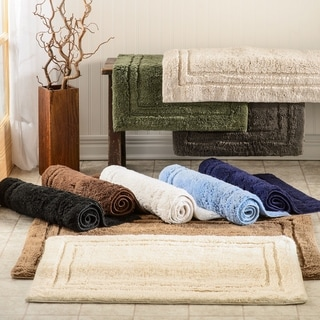 Simple Elegance Superior Collection Luxurious Cotton Non-skid 2-piece Bath Rug Set