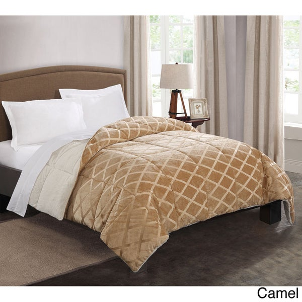 embossed mink to faux fur reversible down alternative comforter 15628136 overstock shopping. Black Bedroom Furniture Sets. Home Design Ideas