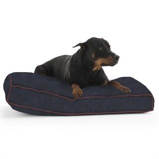 DogSack Rectangle Navy Blue Memory Foam Microsuede Pet Bed