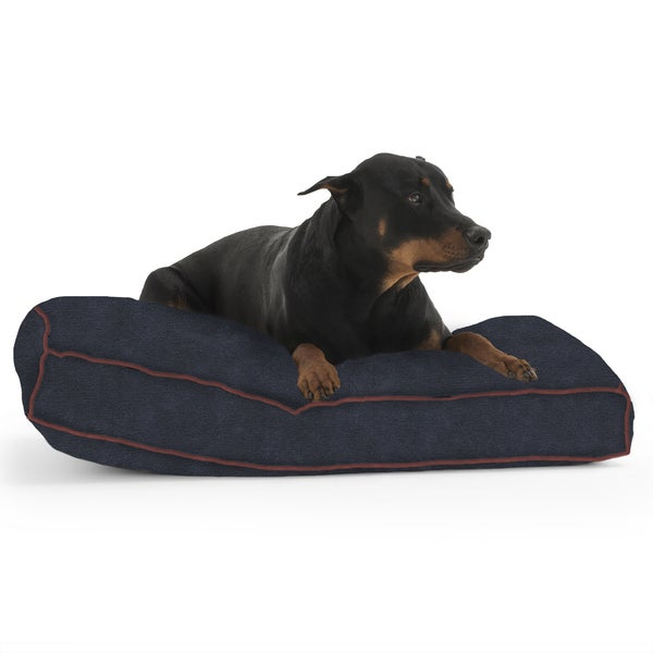 DogSack Rectangle Navy Blue Memory Foam Microsuede Pet Bed