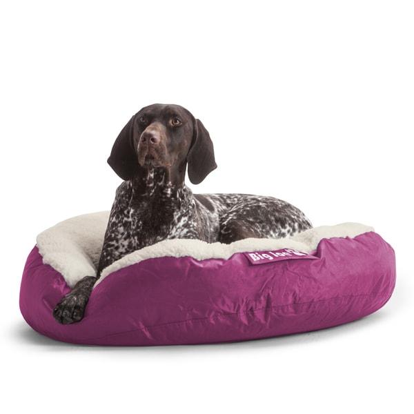 DogSack Big Joe Round Magenta Microfiber/Sherpa Pet Bed