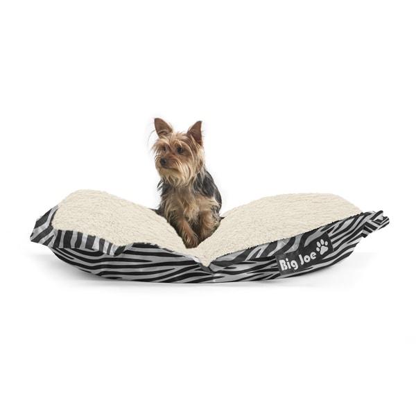 DogSack Big Joe Rectangle Zebra Print Med / X-Large Microfiber and Sherpa Pet Bed