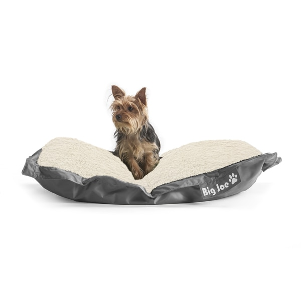 DogSack Big Joe Rectangle Steel Grey Med / X-Large Microfiber and Sherpa Pet Bed